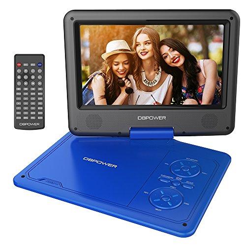 """DBPOWER 9.5"""" Lecteur DVD Portable, pile rechargeable de 5 heures, avec écran orientable, compatibilité carte SD et interface USB, lit directement les formats AVI, RMVB, MP3 et JPEG (Bleu, 9.5)"""