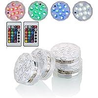Kitosun impermeable LED luces sumergibles RGB Multicolors LED 3aaa baterías operadas con control remoto infrarrojo para los eventos de banquete de boda Halloween Holidays Decoración de Navidad 7 cm de diámetro, 2,8 cm de altura