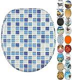 WC Sitz mit Absenkautomatik, viele neue WC-Sitze zur Auswahl, hochwertige Oberfläche, einfache Montage, stabile Scharniere (Mosaik Blau)