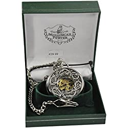 Mullingar Pewter Open Faced Pocket Watch With Kells Design
