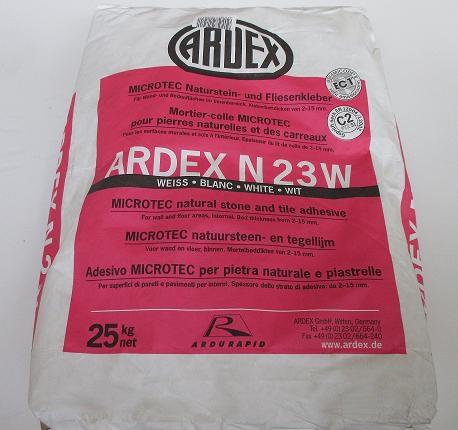 ARDEX N23W MICROTEC Naturstein- und Fliesenkleber, weiß 25kg mit ARDURAPID® - Effekt Für Wand- und Bodenflächen im Innenbereich. Für helle, durchscheinende Platten wie Marmor u.ä.