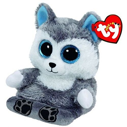 Carletto Ty 00011 - Scout, Husky mit Glitzeraugen, Peek-A-Boos, Smartphonehalter, 15 cm