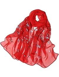 562cf785203d BaZhaHei Foulard Femme Rose Dot Impression Longue Echarpe Doux Châle Léger  Foulards en Soie de simulation