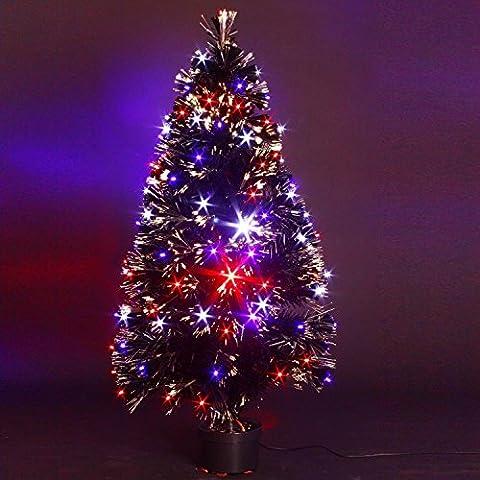 ALBERO DI NATALE artificiale con vaso - LUMINOSO, in fibra ottica + 136 lucine LED (Vaso Albero Di Natale)