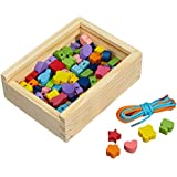 """Fädelspiel """"Fädelkreativ"""", Motorikspielzeug / Fädelschmuck aus Holz mit Perlen in verschiedenen Farben und Formen, praktische Holzbox für den einfachen Transport, mit farbigen Bändern, ab 3 Jahre"""