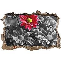 bella crisantemo mazzo nero / bianco svolta muro in look 3D, parete o in formato adesivo porta: 92x62cm, autoadesivi della parete, autoadesivo della parete, decorazione della parete