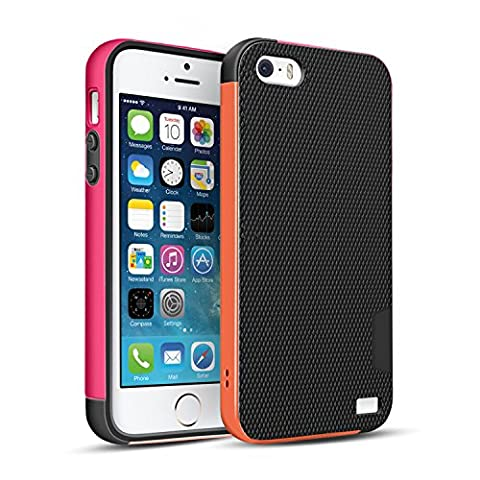 Coque iPhone SE/5/5S [Ultra Hybride]TPU Anti-Choc Robuste Durable Double Protection Panneau Anti-Dérapant Étui Pour iPhone SE/5/5S [Orange/Rose]