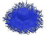 Chapeau de paille jardinier Bleu (SH-23), Chapeau Filagarchado Paille Vagabond en raphia tressé Paille Vagabond accéssoire d'été plage soleil déguisement