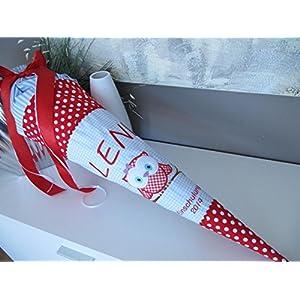 Eule Uhu hellblau-rot Schultüte Stoff + Papprohling + als Kissen verwendbar