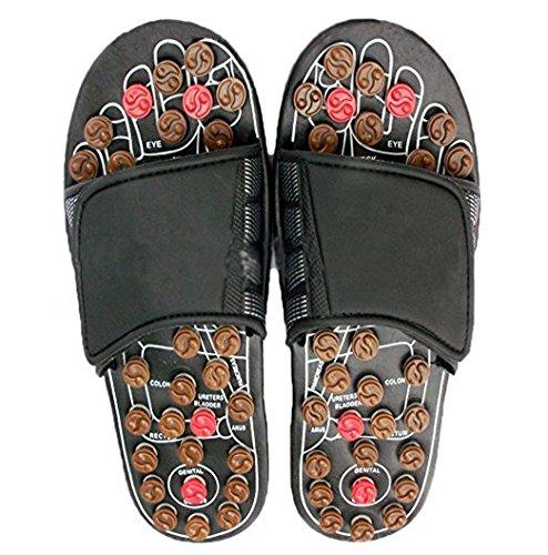 Pantofole Salute Riflessologia, Sandali di massaggio con pulsanti di agopressione, Slippers Favorire la circolazione sangue, Infradito Migliorare la Metabolismo Noir,38-39