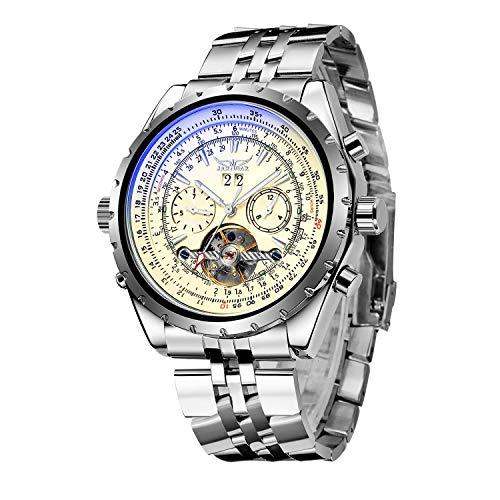 Gute Herren XL Oversize Automatisch Mechanisch Armbanduhr Luminous Pilot Armbanduhr Edelstahl