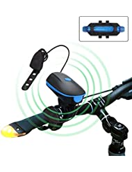 HooYL Luz de Bicicleta LED Delantera+Trasera IPX4 250lm Blanca USB Recargable (3 Modos) y 140db, Color Azul