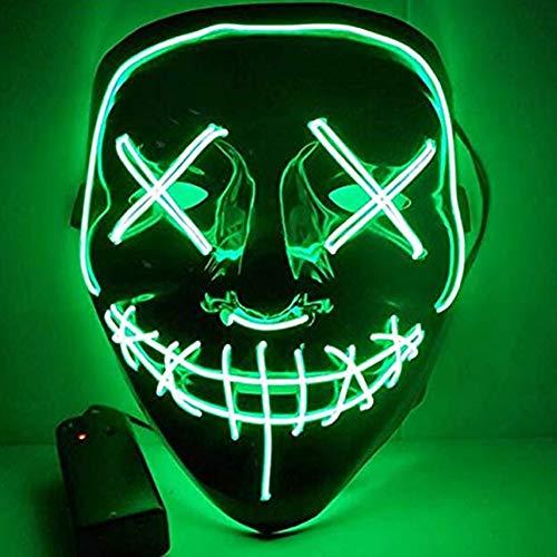 LED Maske Halloween Scary Cosplay Leuchtmaske für Festivalpartys Kostüm Masken,Green (Teen Scary Kostüm)