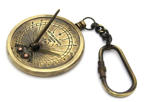 Brass Sundial Compass - Pocket Sundial - With Key Chain