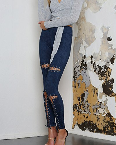 Jeans Donna Strappati Stretti Pantaloni Skinny Elasticizzati Cinghie Incrociate Leggings Blu marino