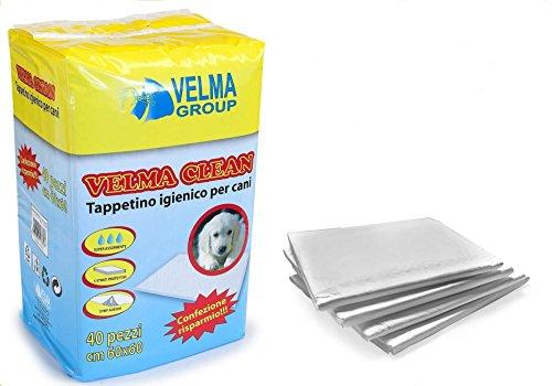 TAPPETINI IGIENICI VELMA CLEAN 60X90 CM - Traverse in cellulosa con polimeri, super assorbenti e impermeabili, anti odore, per cani e gatti (40 pezzi)