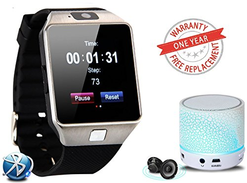 Premium Design SAMSUNG Galaxy J7 Compatible Bluetooth Smart Watch DZ09 Phone With Camera and Sim Card & SD Card Support with free LED Light mini Bluetooth speakers (Random Colour)