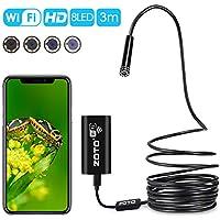 Endoscopio WIFI HD 720P 2MP,ZOTO Inalámbrico Boroscopio IOS Android,8 LED Luz Impermeable Cámara de Inspección para Smartphone Android Samsung,iPhone,PC,Semi-Rigido Cámara Serpiente Para Industriales