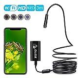WIFI Endoskop 3M,ZOTO USB Android IOS Kabellos Inspektionskamera 2MP Megapixel,720P HD Boreskope mit LED Nachtsicht,8MM Kopf Flexibel Endoskop Kamera Wasserdicht,Tube Rohr Camera zum iPhone Smsung Win