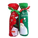 NUOLUX Chirstmas Flasche Deckel motorradkoffer Wein Wein Cover Dekoration Weihnachten Geschenk Taschen Set Santa Schneemann Table Dekoration 2pcs