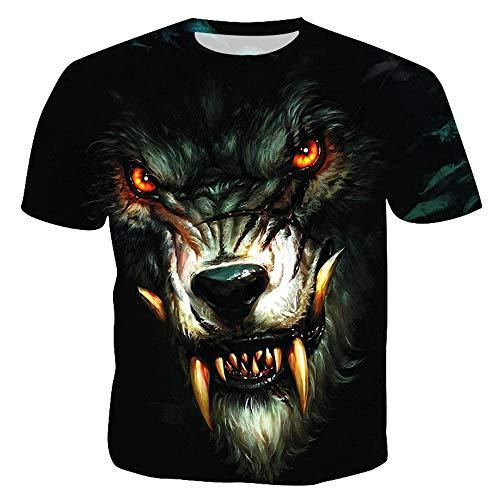 Herren T Shirts Print Unisex Kurzarm Sommer T-Shirt,Lässiges T-Shirt mit 3D-Druck in Übergröße für Herren Wolf 03 XL - Musik Mag Ich T-shirt