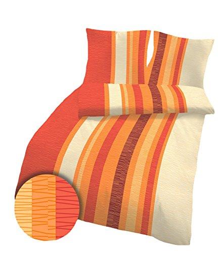 Unbekannt Ido Seersucker Bettwäsche100% Baumwolle in Orange Terra 135x200 und 80x80 cm