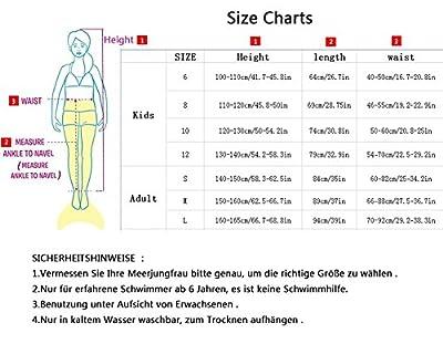Meerjungfrauenschwanz zum Schwimmen mit Meerjungfrau Flosse 110-165cm Höhe by SPEEDEVE