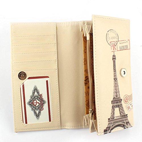 Vovotrade Donne borsa della frizione Portafoglio Borsa del supporto di carta (Torre Fiore modello) Arco di Trionfo