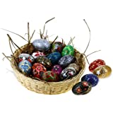 Paper Mache Wooden Ornaments Easter Eggs Decorations Set of 18
