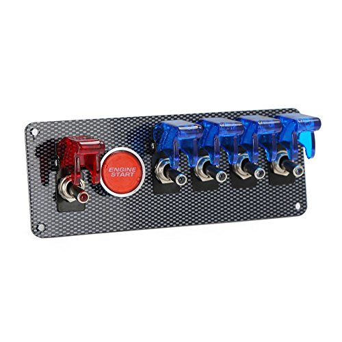 Preisvergleich Produktbild Rupse Kfz Auto Rennrad 12V Schalter RV Toggle 4 blau +1 rot LED Panel Schalter