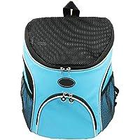Mochila para Mascotas al Aire Libre Carrier Diseño Respirable Pet Cat Dog Puppy Carrier Bolsa de Viaje Bolsas de Hombro Dobles Portátiles Azul (Tamaño : S)