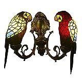 ● Europeo Tiffany Glass Parrot Corridoio Lampade da parete Bar Counter Club Bronzo metallo Camera da letto Lettiera Parete Applique Country Rustic Balcone Lampada da parete (rosso) ●