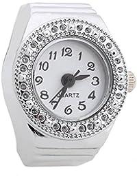 Reloj de Anillo Cuarzo Aleacion Plateado Esfera Redonda para Mujer Moda