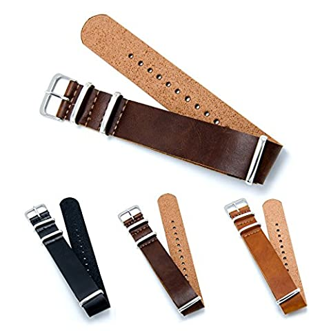 CIVO PU Cuir Bracelet de Montre Mixte NATO Zulu Militaire G10 bande Watch Strap 18mm 20mm 22mm avec TOP Barre d'outils Spring et Bars Spring Bonus (Dark Brown, 22mm)