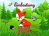 6 Einladungskarten * KLEINER FUCHS * für eine Kinderparty // Kindergeburtstag Kinder Feier Mottoparty Party Motto Einladung Einladungskarte Postkarte Wald