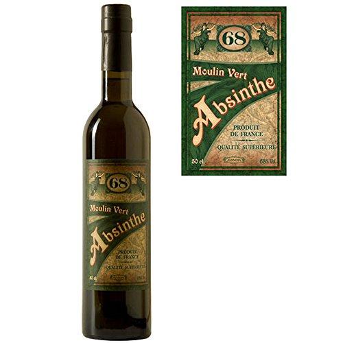 Absinth Moulin Vert aus Frankreich | Original Rezeptur | 68% Vol. | Premium Qualität mit Weinalkohol destilliert | (1x 0.5 l)