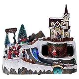 Holyart Villaggio Natalizio Musica 20x25x20 cm Babbo Natale ed Elfi in Movimento