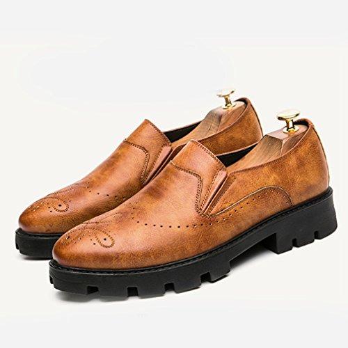 Hommes Chaussures Mocassins en PU Cuir Brogue Bout Pointu Épais Semelle Antidérapant Loisir Rétro Derby Brun