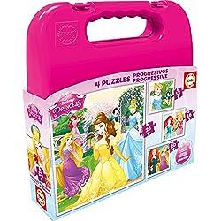 Puzzles Educa - Maleta con puzzles progresivos, diseño Princesas Disney, 12-16-20-25 piezas (16508)
