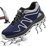 XIAO LONG Damen Herren Sicherheitsschuhe Arbeitsschuhe Atmungsaktiv Stahlkappe Schutzschuhe Traillaufschuhe für Sommer,Grau1,40