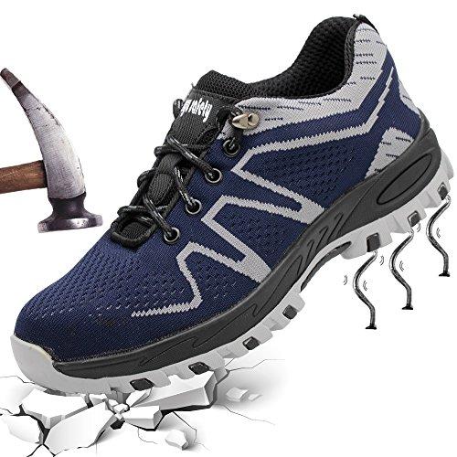 Sicherheitsschuhe Damen Herren Arbeitsschuhe Atmungsaktiv Schutzschuhe mit Stahlkappe Traillaufschuhe für Sommer Outdoor,Grau,38