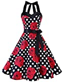 Dresstells Neckholder Rockabilly 50er Vintage Retro Kleid Petticoat Faltenrock Black Red Rose Dot XS