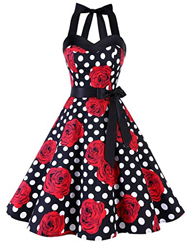 Dresstells Neckholder Rockabilly 1950er Polka Dots Punkte Vintage Retro Cocktailkleid Petticoat Faltenrock Black Red Rose Dot 3XL - Womens Vintage Rose