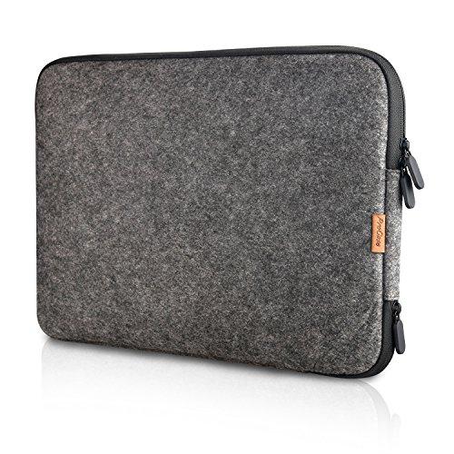 ProCase 13-13.5 Zoll Schutzhülle Filz Laptop Sleeve Tasche, 13 Zoll MacBook Pro Retina/MacBook Air, 13.5 Zoll Surface Book und Andere Chromebook Ultrabook Notebook- Schwarz