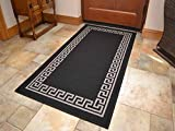 Black Greek Key Non Slip Machine Washable Rug. Available in 6 Sizes (80cm x 150cm)