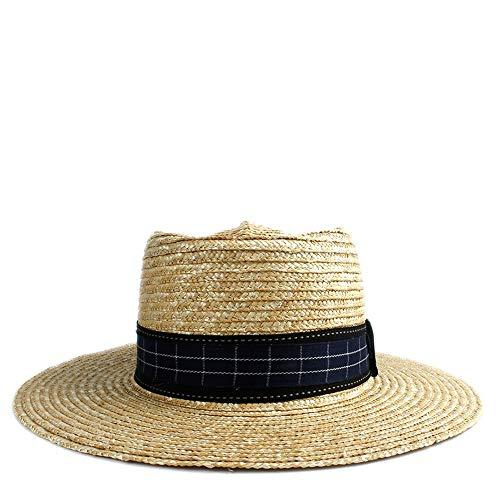 Hüte Plain Sonnenhut Stroh Mode Hut Plaid Kuppel Hut Filz Pork Pie Hut Damen Hut Schwarz Stoffstreifen (Farbe : 1, Größe : 56-58CM)