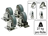 2x Lenkrolle und 2x Lenkrolle mit Bremse Vollgummi 50mm 27kg Tragkraft