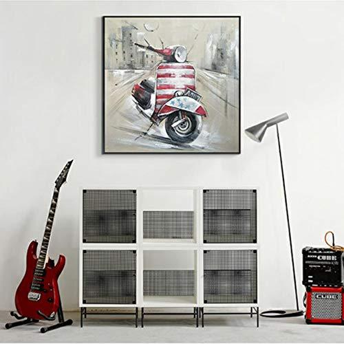 CPDZ Handbemalte, maßgeschneiderte Ölmalerei auf der Leinwand Wandkunst Für  den Wanddekorativ Scooter Modern Simple Decorative Painting Living Room