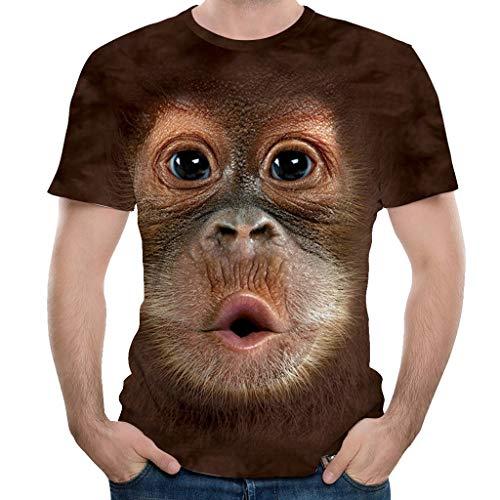 3D Druck Affengesicht T-Shirts Sommer Tops Tees Slim Fit Kurzarm Unisex Pärchen