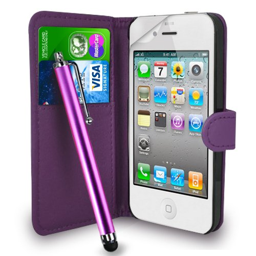 Apple iPhone 4S / 4G / 4 Dark Purple Leather Wallet Flip Hülle Tasche + Touch Pen Stylus + Displayschutzfolie und Reinigungstuch